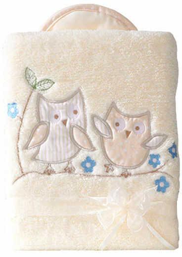 MAMO-TATO Kocyk dla niemowląt długowłosy dwustronny z haftem Sówki uszatki biszkoptowe