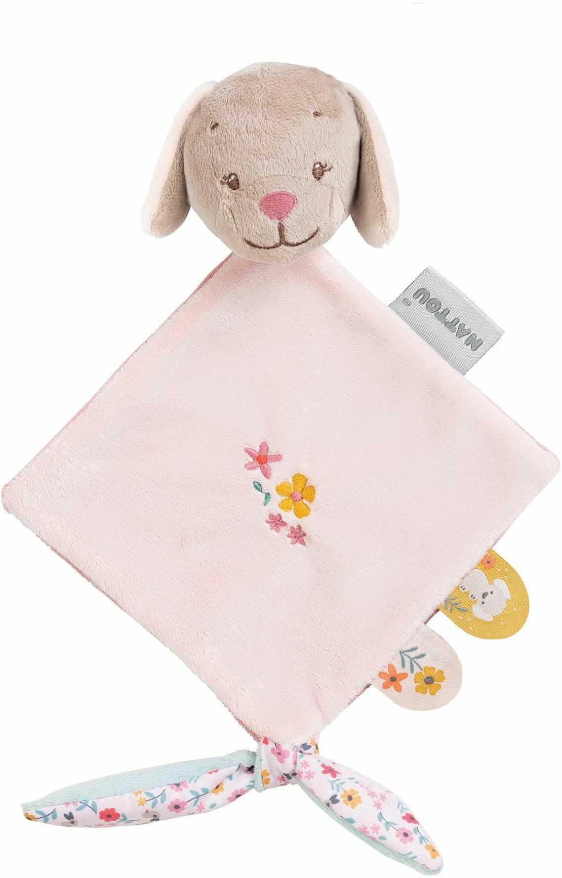 Nattou Mini-chusteczka na smoczek Hündin Lali, Iris i Lali, 30 x 20 x 5 cm, beżowa/różowa