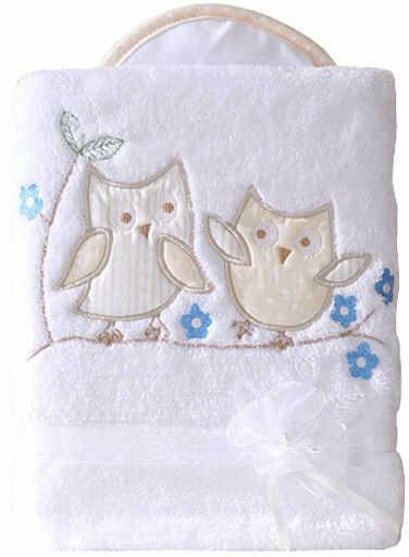 MAMO-TATO Kocyk dla niemowląt długowłosy dwustronny z haftem Sówki uszatki biało-biszkoptowe