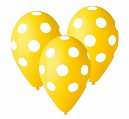 """Balony Premium 12"""", Żółte w grochy, 5 szt."""