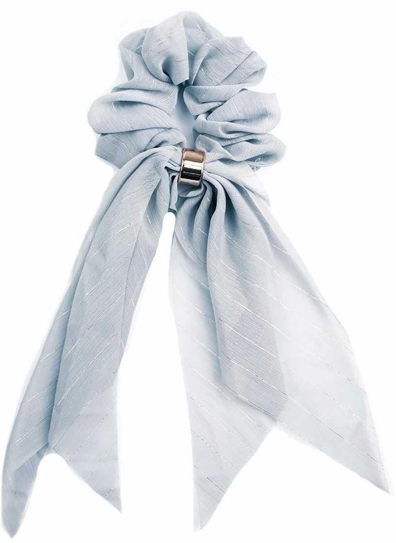 Gumka do włosów kokarda apaszka scrunchie błękitna