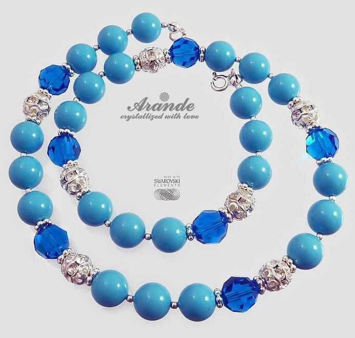 Swarovski Piękny oryginalny Naszyjnik CAPRI BLUE SREBRO