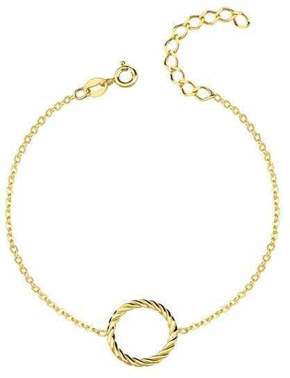 Elegancka pozłacana srebrna bransoletka celebrytka kółko circle ring spiralka srebro 925 R0113B_G
