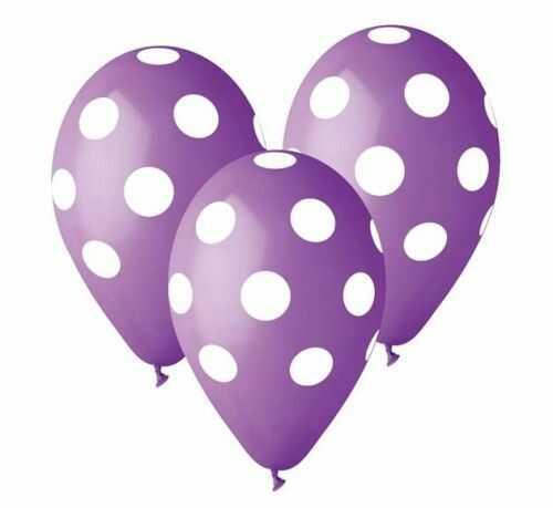 """Balony Premium 12"""", Fioletowe/lawendowe w grochy, 5 szt."""