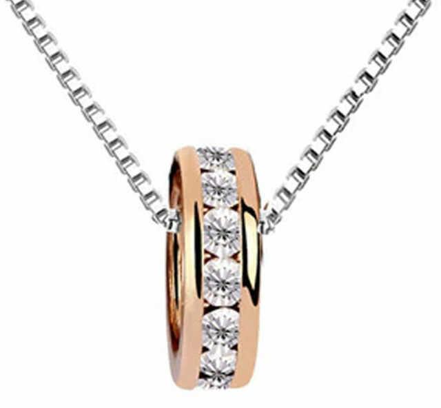 Naszyjnik ring z cyrkoniami kółeczko