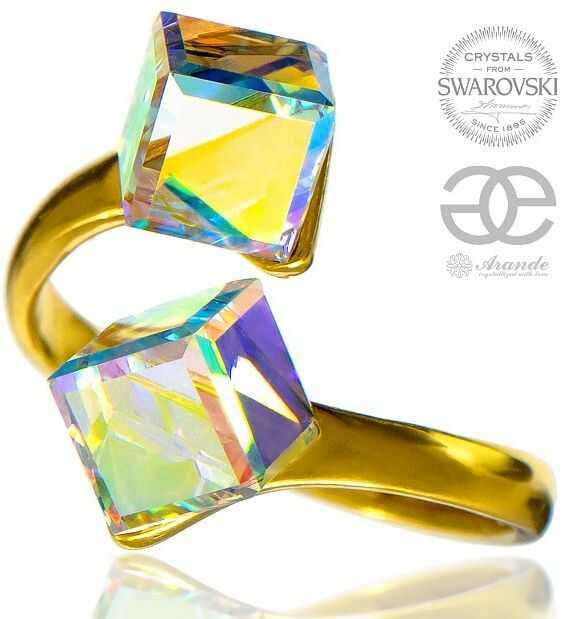 Kryształy Pierścionek AURORA Otwarty ZŁOTE SREBRO