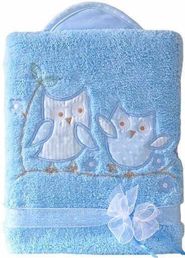 MAMO-TATO Kocyk dla niemowląt długowłosy dwustronny z haftem Sówki uszatki błękitne