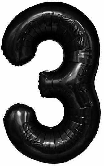 Balon foliowy 3 czarny 100cm 1szt 450083