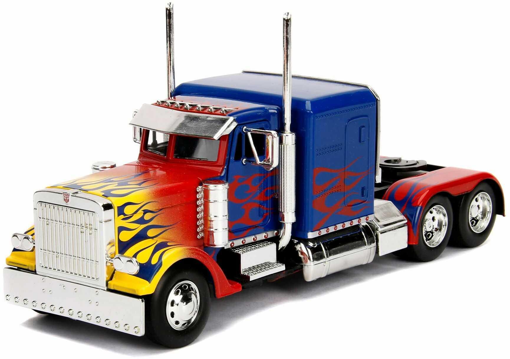 Jada Toys Transformers T1 Optimus Prime, zabawkowy samochód z Die-cast, samochód, skala 1:24, niebieski/czerwony