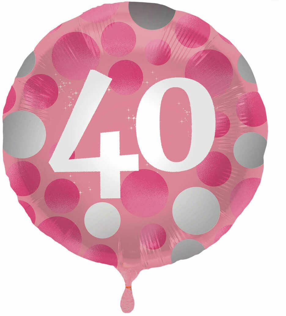 Balon foliowy na czterdziestkę różowy - 45 cm - 1 szt.