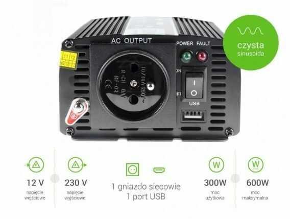 Samochodowa Przetwornica Napięcia Green Cell 12V do 230V 300W/600W Pełna Sinusoida INV05