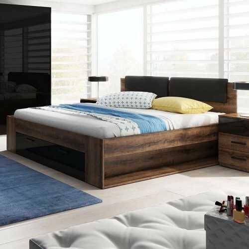 Galaxy 50 łóżko 140/200 z szufladą - dąb monastery/czarny połysk