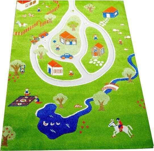 Dywan wioska 3d 134 x 180 cm zielony