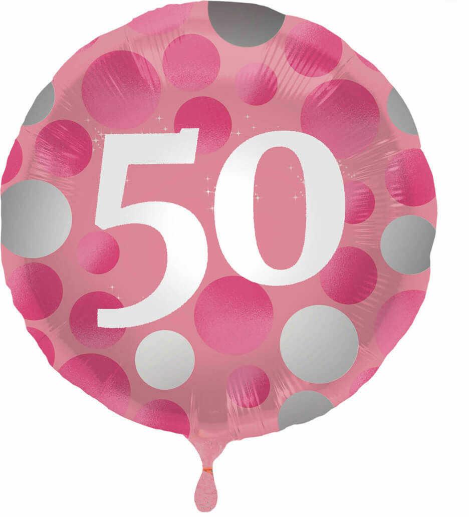 Balon foliowy na pięćdziesiątkę różowy - 45 cm - 1 szt.