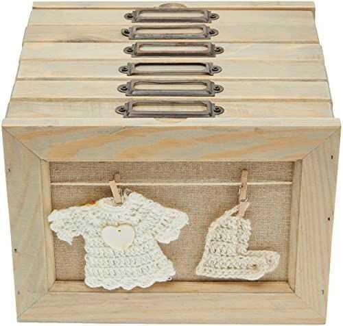 Better & Best Box ramka na zdjęcia, 6 szuflad z motywem skarpetek, drewno i bawełna, beżowy naturalny, 18,5 x 17 x 13,5 cm