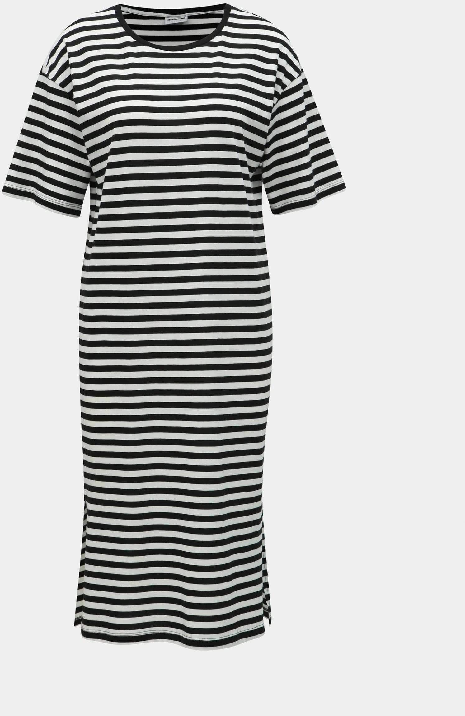 Podstawowa sukienka z rozcięciami w biało-czarne paski Noisy May Mayden
