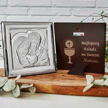 Najlepszy ksiądz - Św. Rodzina - Kwadrat - Srebrny Obrazek z Grawerem