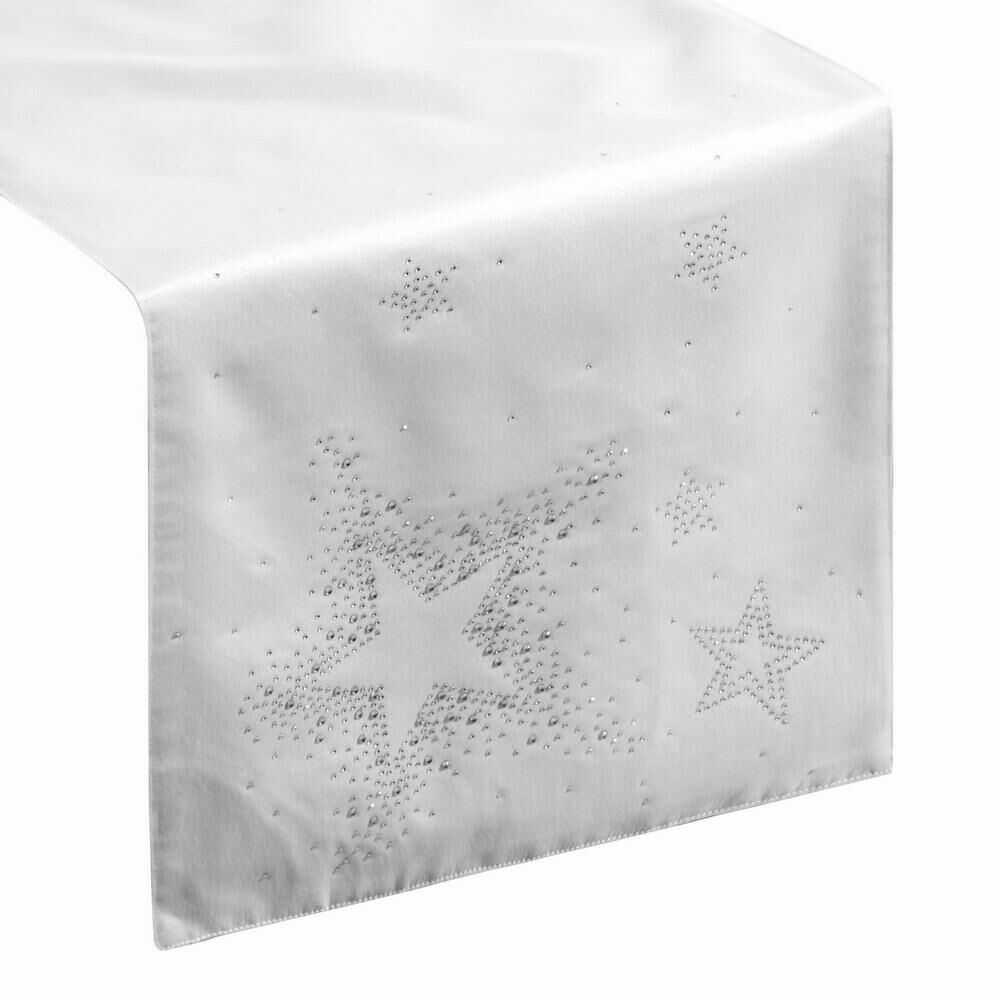 Obrus bieżnik świąteczny 35x140 Livvi biały srebrny połyskujący gwiazdki cekinki Eurofirany