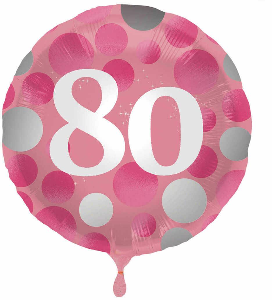 Balon foliowy na osiemdziesiątkę różowy - 45 cm - 1 szt.