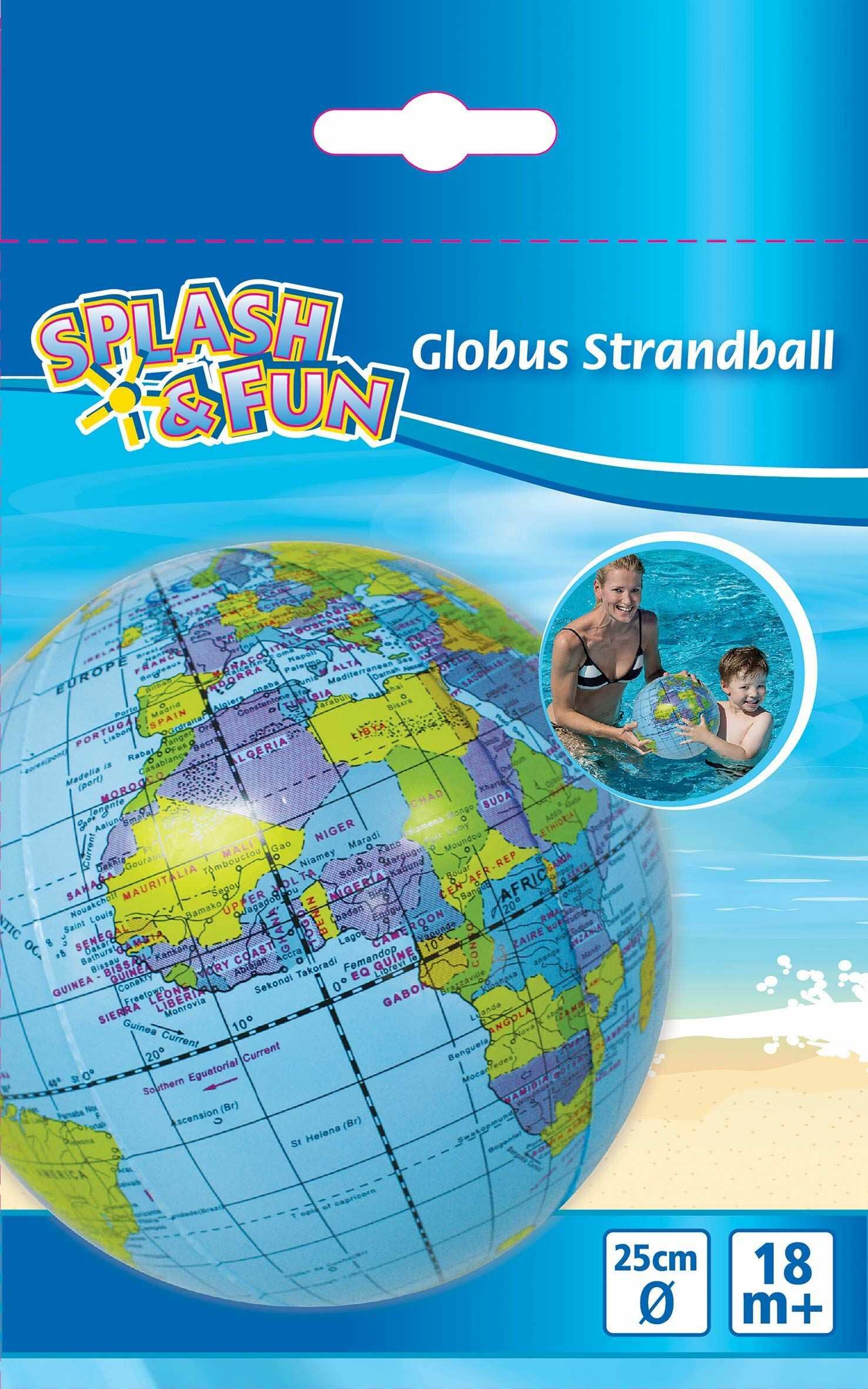 Splash & Fun piłka plażowa Globus, Ø 25 cm