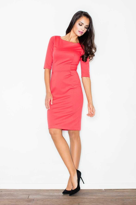Koralowa szykowna sukienka z rękawem do łokcia