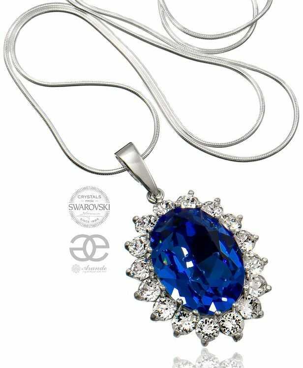SWAROVSKI piękny naszyjnik ROYAL BLUE SREBRO