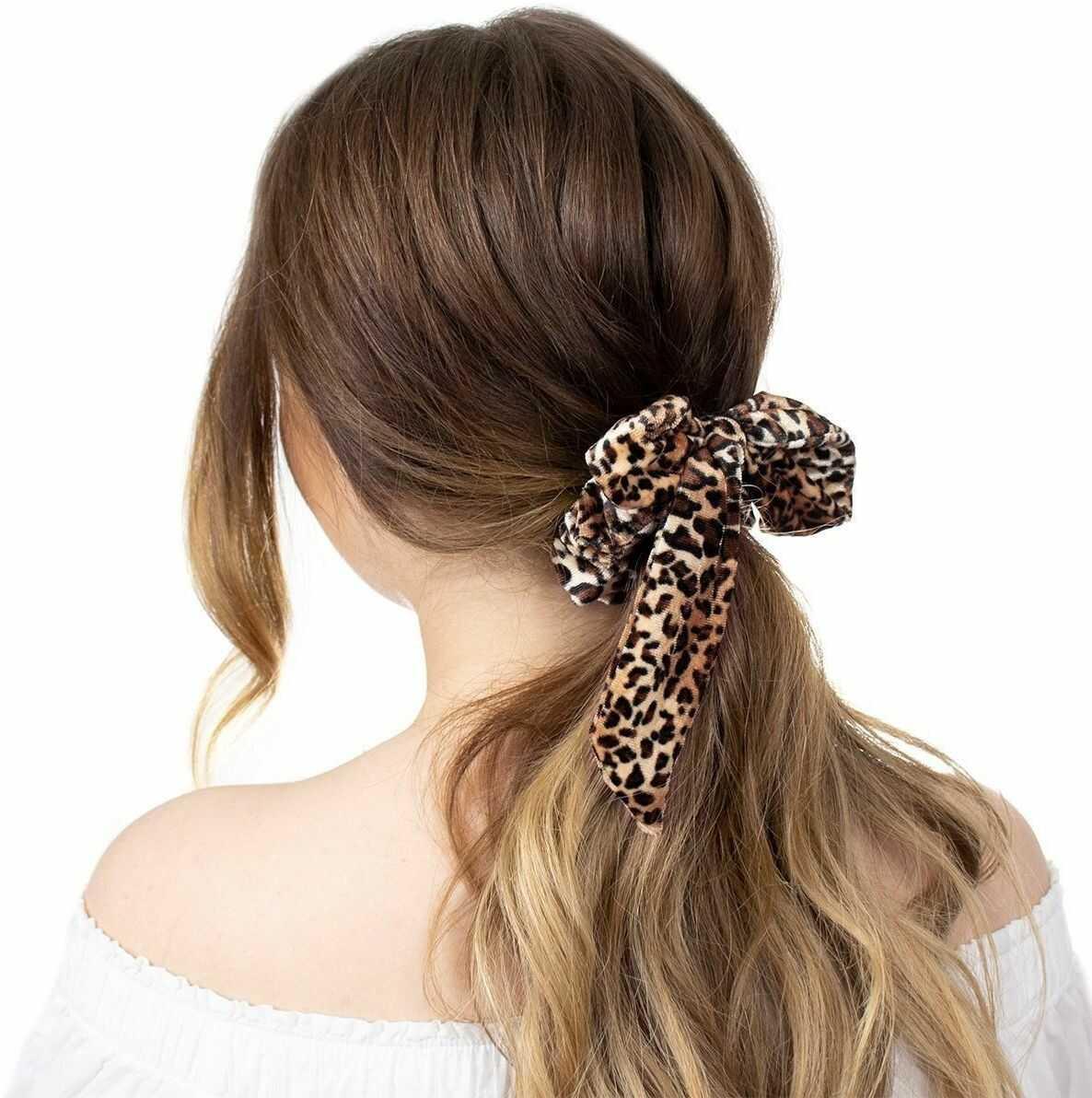 Gumka do włosów apaszka scrunchies frotka panterka
