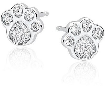 Eleganckie rodowane srebrne kolczyki psie łapki białe cyrkonie srebro 925 Z1547E