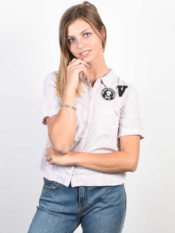 Volcom Stone Resort LIGHT PURPLE panie krótki rękaw koszula - S