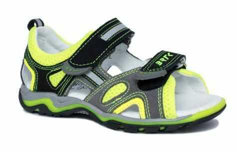 Bartek 16176 / 19176/ 7-SAY sandały sandałki profilaktyczne - dziecięce - szary żółty neon