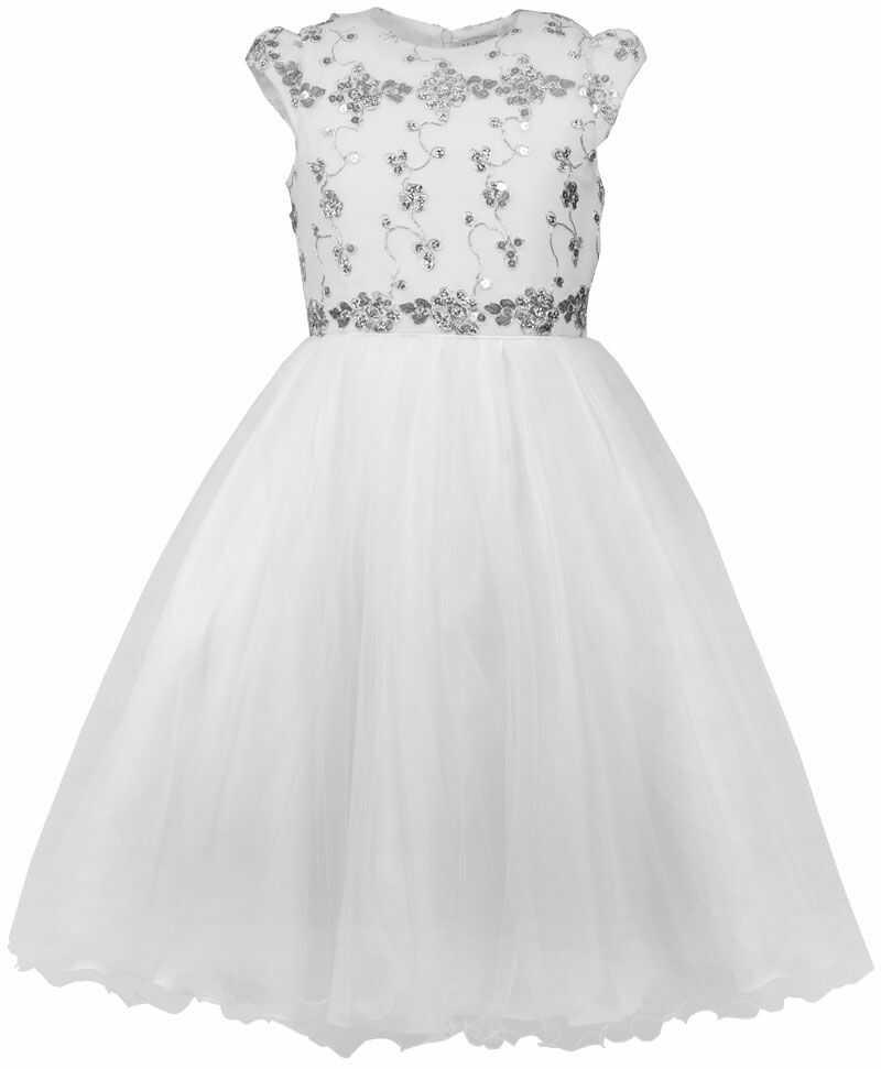 Sukienka z cekinami dla dziewczynki 122-146 Serena biała