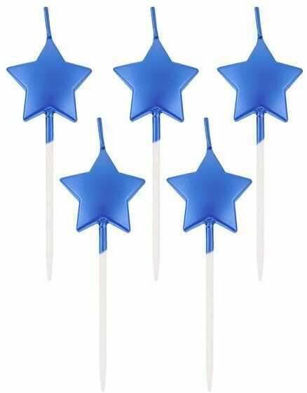 Świeczki urodzinowe gwiazdki niebieskie 5 sztuk PF-SPGN