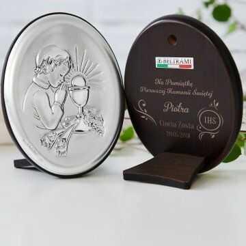 Komunia Święta - Chłopiec - Srebrny Obrazek z Grawerem