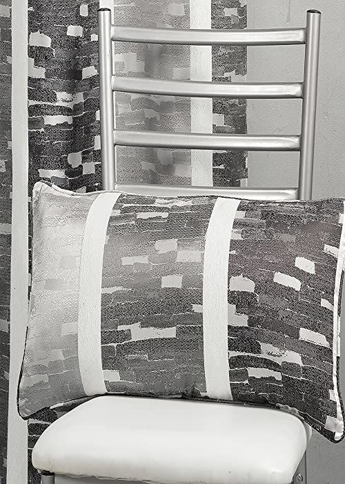 HomeMaison hm69 C202987 poduszka, żakardowy wzór paski pionowe szare 30 x 60 cm