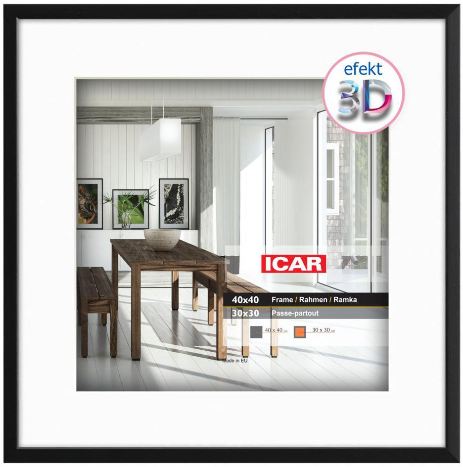 Ramka na zdjęcia Efekt 3D 30 x 30 cm czarna drewniana