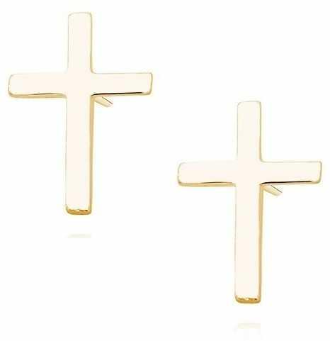 Delikatne pozłacane srebrne kolczyki celebrytki krzyżyk krzyż srebro 925 R0219E_G