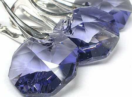 Kryształy SREBRNY KOMPLET Octagon Tanzanit OKAZJA