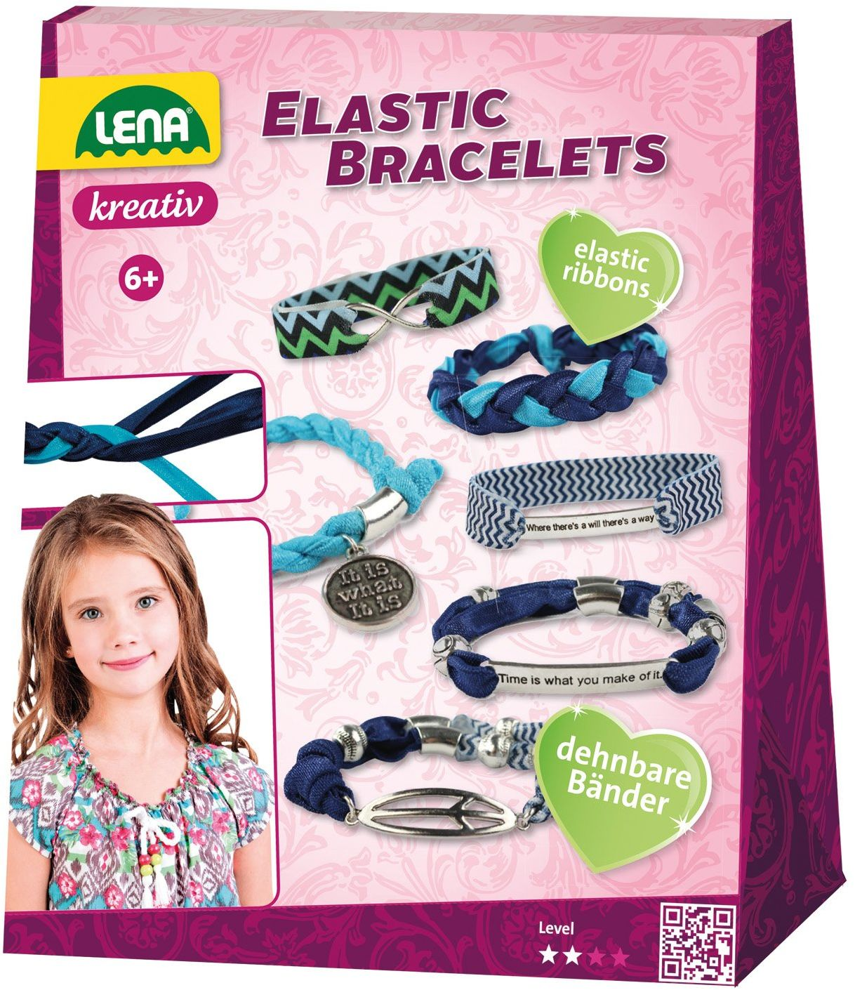 Lena 42651 Elastic Bracelets zestaw do majsterkowania, kolorowy