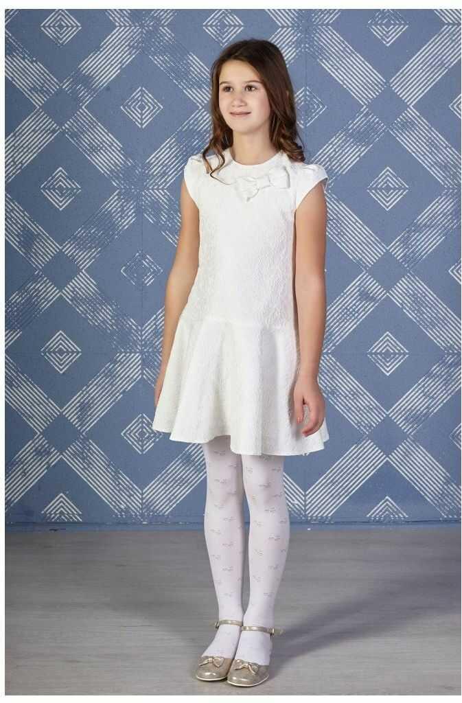 Żakardowa sukienka dla dziewczynki 128-158 Roksana ecru