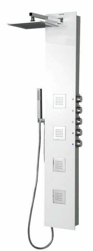 5SIDE SQUARE Panel prysznicowy z baterią 155x25 cm, biały 80216