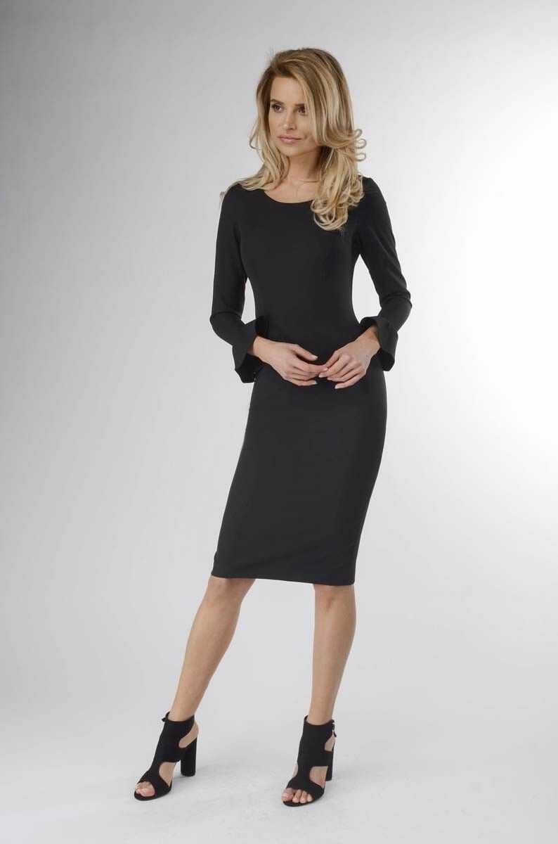 Czarna wizytowa sukienka ołówkowa z falbanką