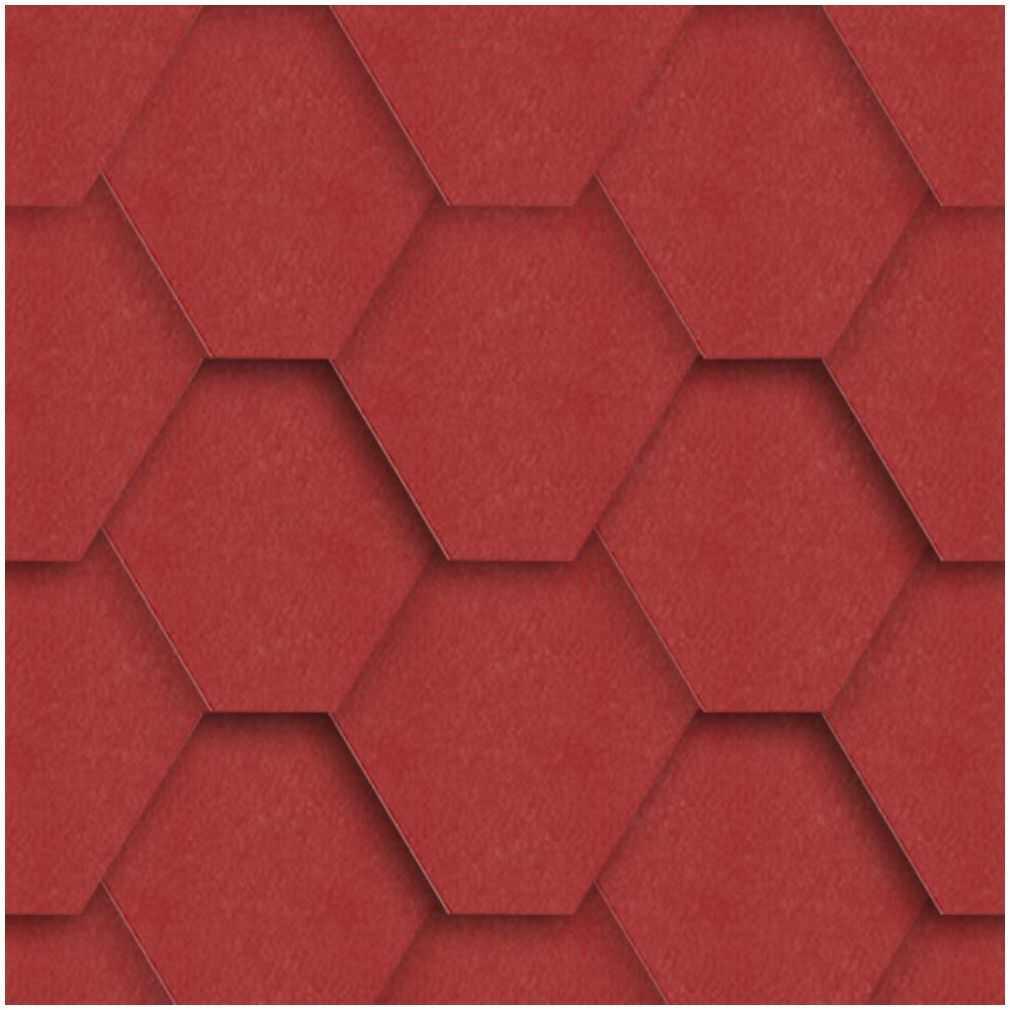Gont bitumiczny HEXAGONALNY Czerwony 3 m2 IZOLMAT