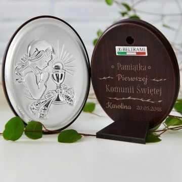 Pamiątka Komunii - Dziewczynka - Srebrny Obrazek z Grawerem