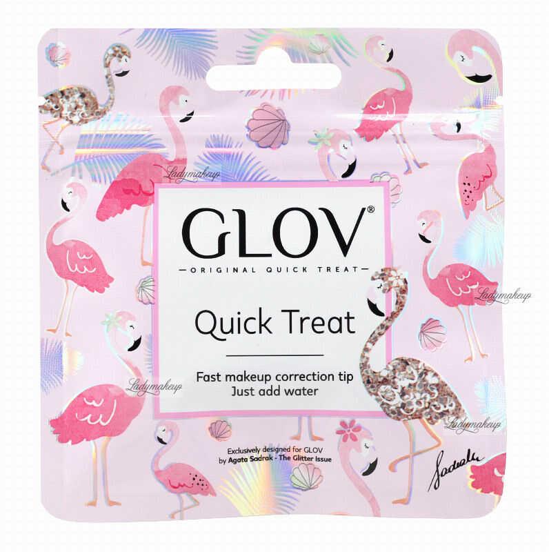 GLOV - QUICK TREAT Flamingo Edition - Blue - Mini rękawica do demakijażu - Niebieska
