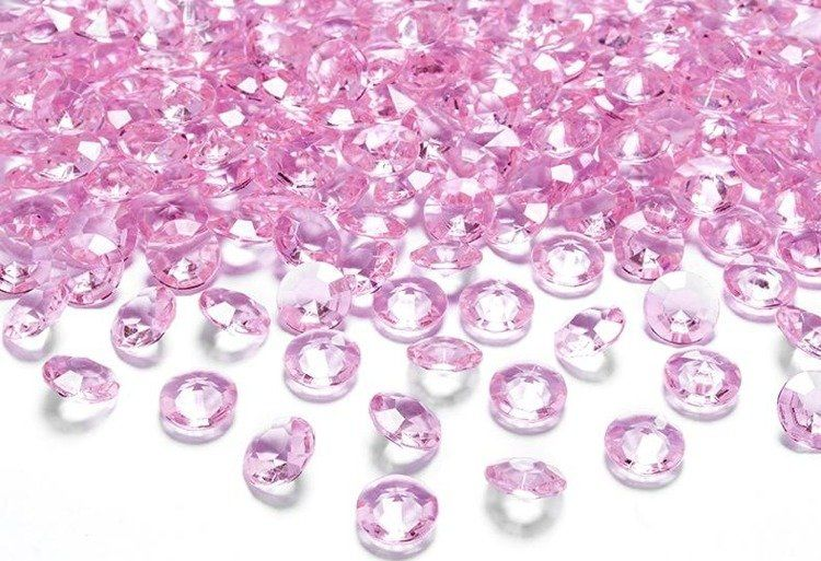 Diamentowe konfetti 12mm jasny różowy 100 sztuk ADC12-081j