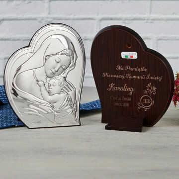 Komunia Święta - Matka Boska - Srebrny Obrazek z Grawerem