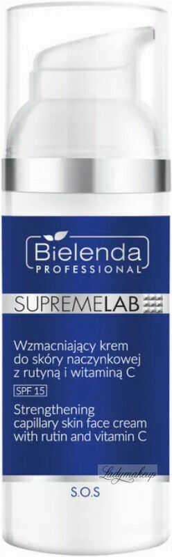 Bielenda Professional - SUPREMELAB - S.O.S. Strengthening Capilary Skin Face Cream With Rutin And Vitamin C - Wzmacniający krem do skóry naczynkowej z rutyną - SPF15 - Dzień - 50 ml