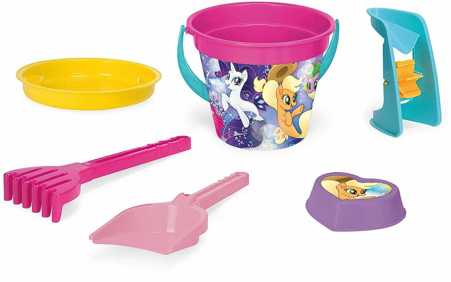 Wader 76237 My Little Pony zestaw wiader, sitko, młynek do piasku, szufelka, grabie i kształt piasku, 6-częściowy, kolorowy