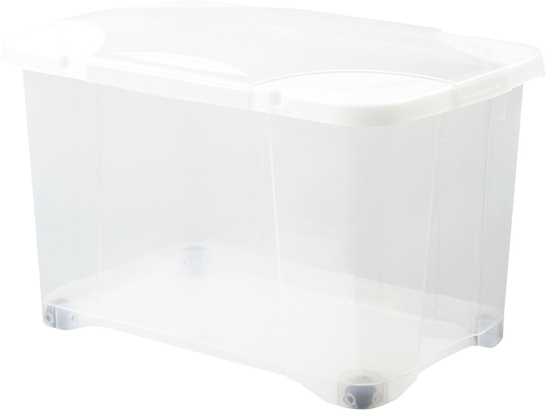 Pudełko Clip Box na kółkach 40L naturalny