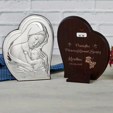 Pamiątka Pierwszej Komunii - Matka Boska - Srebrny Obrazek z Grawerem